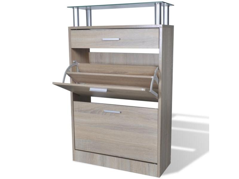 Vidaxl meuble à chaussures avec tiroir et plateau en verre bois aspect chêne 241245