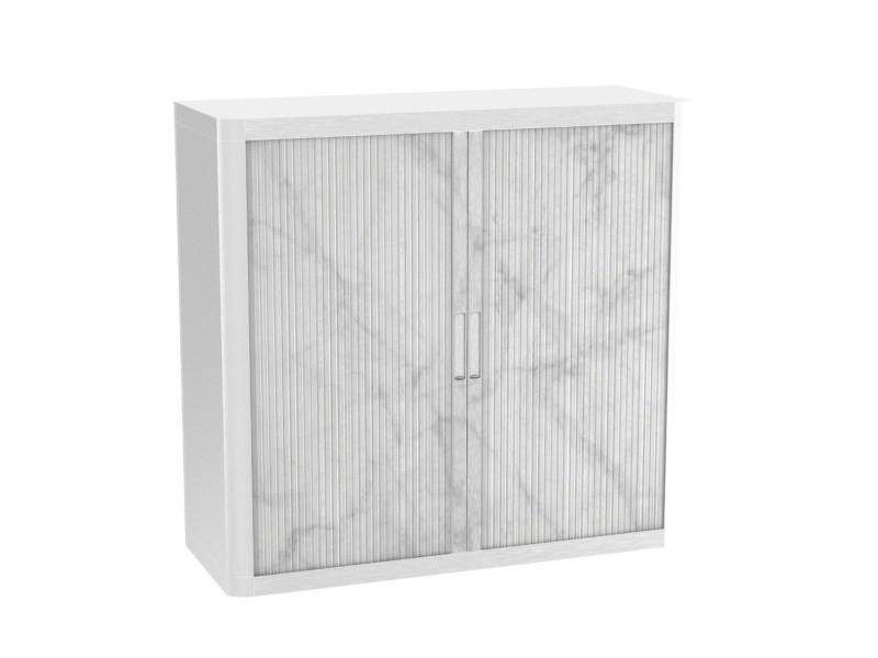 Armoire de bureau métalique porte coulissante h 1m - marbre blanc