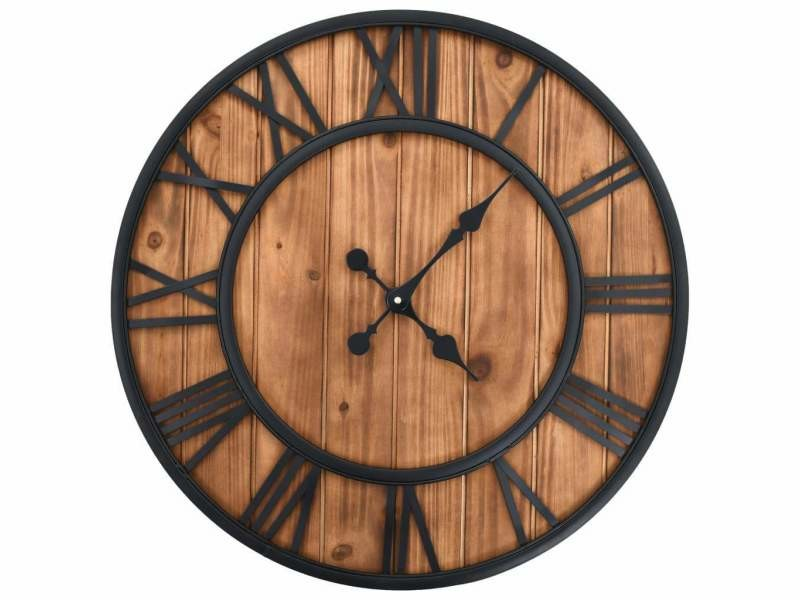 Horloge murale vintage à quartz bois et métal 60 cm xxl dec022277