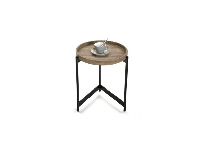Table d'appoint aspect bois et métal hennen 40 cm