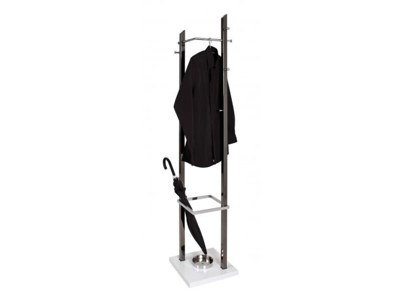 Porte-manteau melvin - acier nickelé - 35x35x186 cm - chromé - pied laqué blanc - 6 crochets + 1 patere + porte-parapluie HAK4001070888716