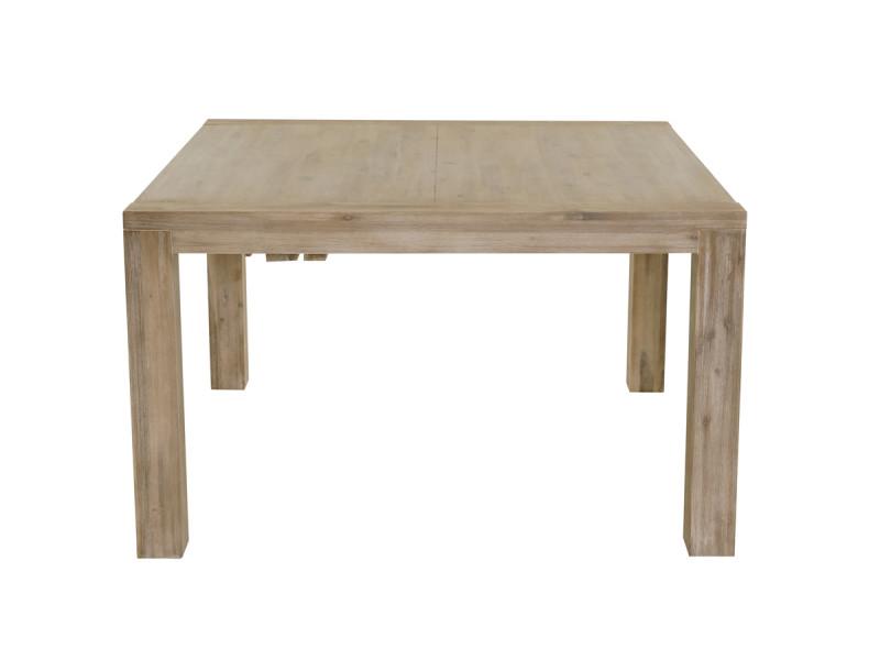Table repas carrée 130 x 130 cm avec allonge en acacia nevada - /blanc - /blanc NEV-TRC130A