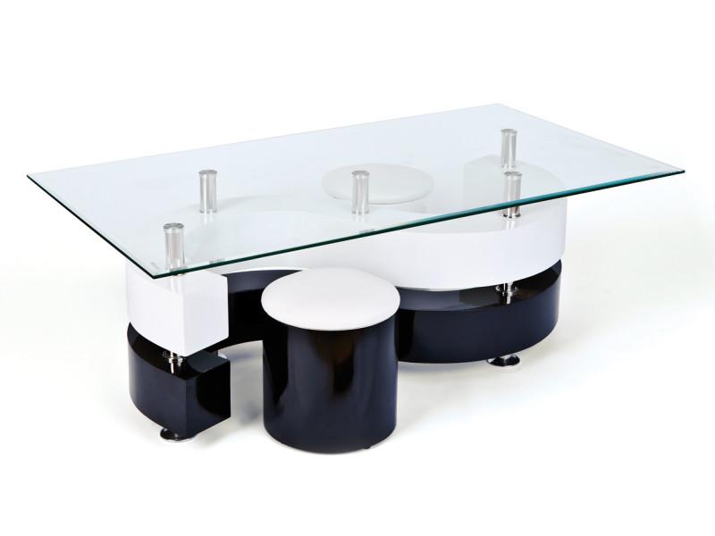 Table basse serena blanche et noire plateau en verre + 2 poufs