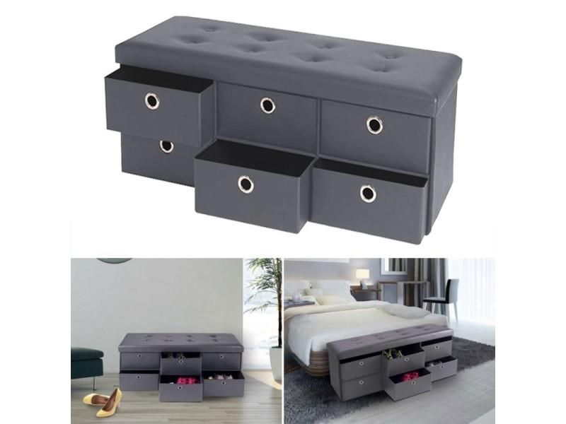 banc coffre rangement gris 6 tiroirs 100x38x38 cm pvc vente de coffre et malle conforama. Black Bedroom Furniture Sets. Home Design Ideas
