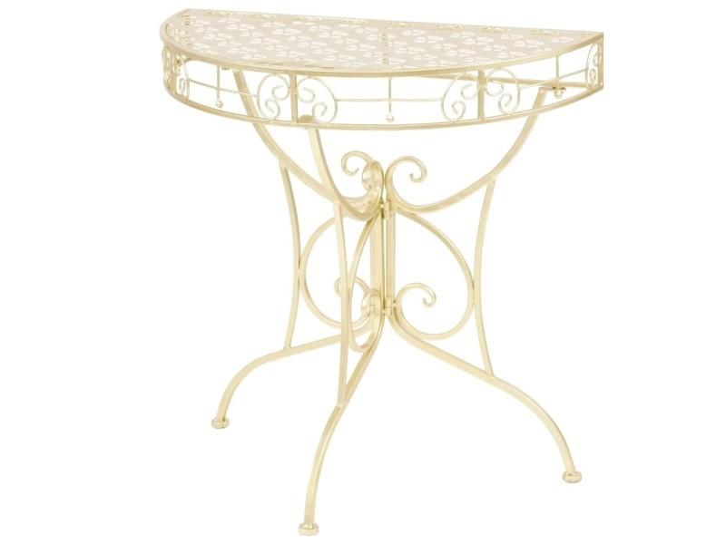 Splendide consoles famille luanda table d'appoint vintage demi-ronde métal 72 x 36 x 74 cm doré