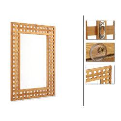 Miroir salle de bain en bambou, h70 x p2 x l50 cm -pegane-