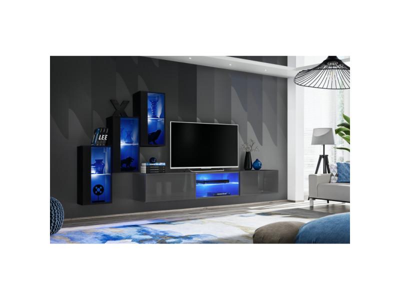 Ensemble meuble tv mural switch xxii - l 240 x p 40 x h 170 cm - noir et gris