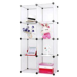 Armoire étagère rangement montage simple système enfichable 8 compartiments blanc helloshop26 2012059