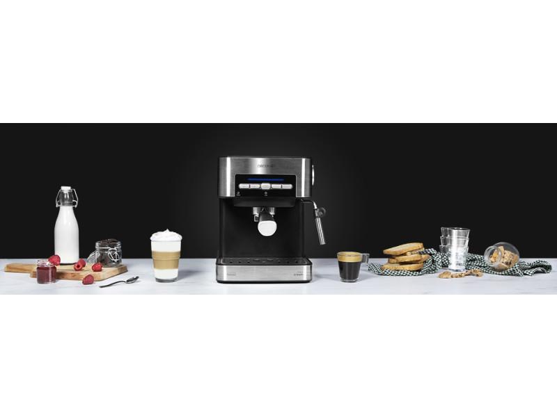 Machine à café express de 1,5l pour café expresso et cappuccino 850w gris noir