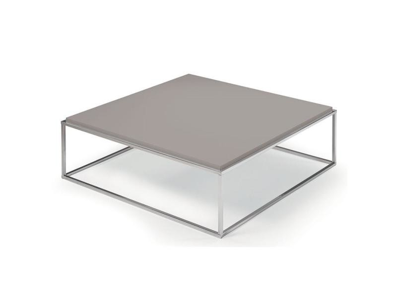 Table basse carrée mimi xl taupe structure acier inoxydable poli 20100847256