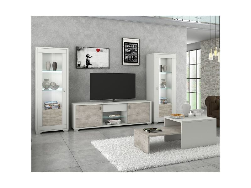 chaussures de séparation 4dcd5 66e8b Gemma - ensemble salon table basse + meuble tv + vitrines ...