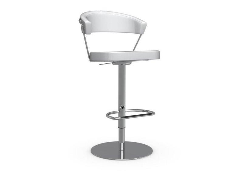 Chaise de bar new york design en cuir blanc optique 20100845525