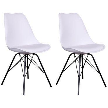 Haga lot de 2 chaises blanches avec piétement métallique