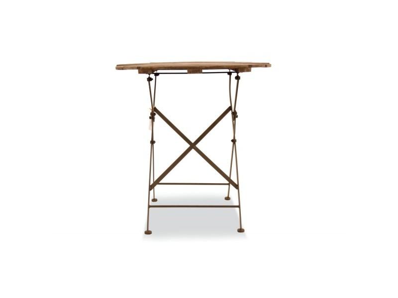 Table à manger ronde bois fer forgé marron 70x70x73cm - décoration d'autrefois