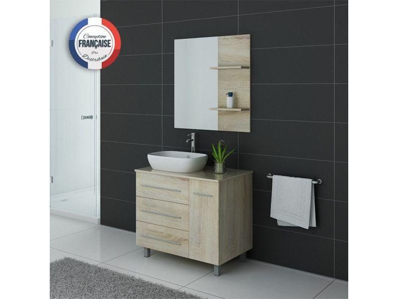Meuble de salle de bain simple vasque toscane scandinave - Meuble vasque salle de bain conforama ...