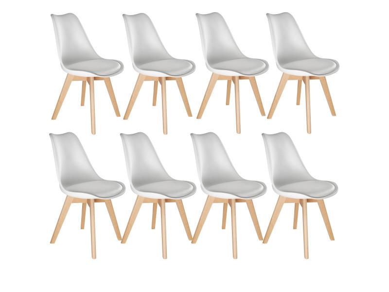 Tectake 8 chaises de salle à manger frédérique style scandinave pieds en bois massif design moderne - blanc 403985