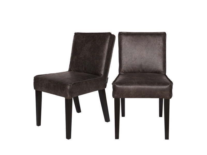 lot de 2 chaises vintage en cuir wayne couleur noir 378614 z vente de chaise conforama. Black Bedroom Furniture Sets. Home Design Ideas