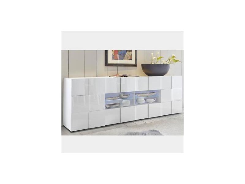 Buffet 2 portes 4 tiroirs blanc laqué design sandrea - Vente de Buffet,  bahut, vaisselier - Conforama 02216511ed94
