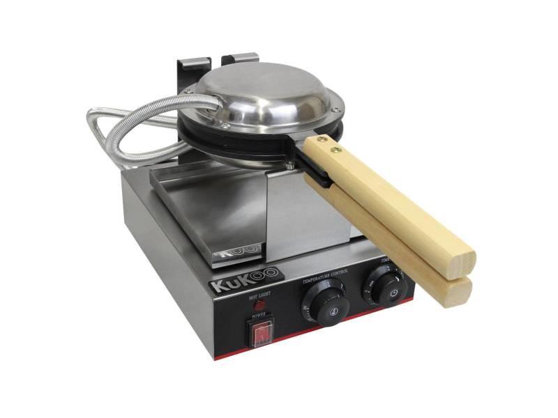 Gaufrier electrique professionnel simple moule plaque de cuisson en téflon et en aluminium 27cm x 26,5cm x 32,7cm