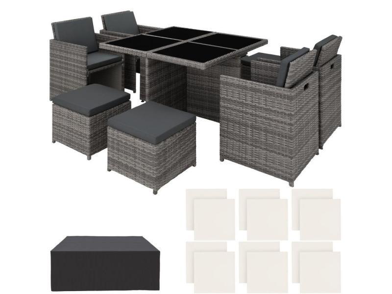 Salon de jardin rotin résine tressé synthétique 8 places avec 2 sets de housses + housse de protection gris helloshop26 2108074