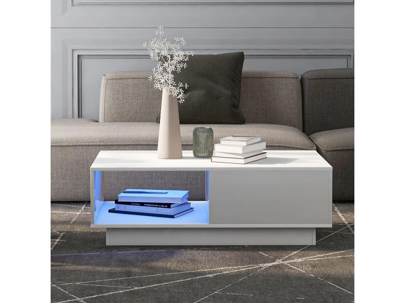 Table basse contemporaine avec éclairage led et tiroir noir blanc