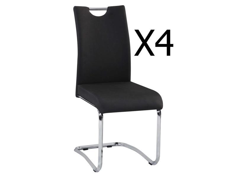 Lot de 4 chaises coloris noir - dim : 430 x 570 x 960 mm - pegane -
