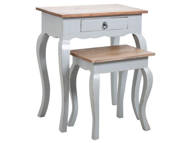 Aubry gaspard - tables gigognes en bois gris antique
