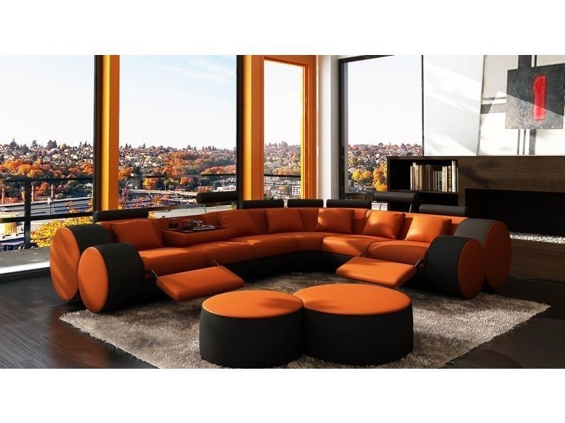 Canapé d'angle cuir orange et noir + positions relax roma-