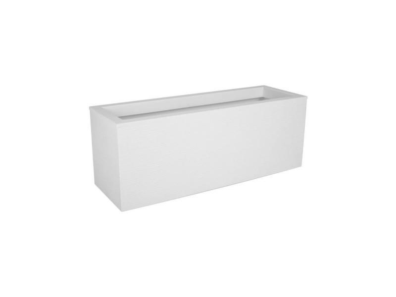 Eda plastique balconniere graphit up - 25 l - 59 x 19,5 x 22,8 cm - blanc cérusé