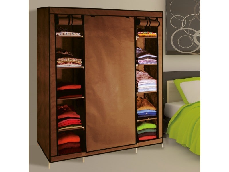 armoire de rangement chocolat dressing penderie xxl tissu vente de id market conforama. Black Bedroom Furniture Sets. Home Design Ideas