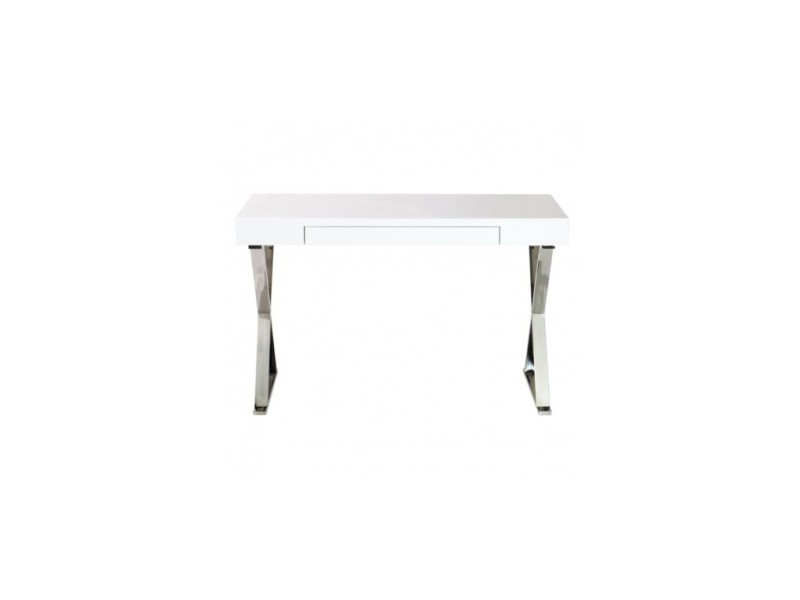Bureau design blanc et chrome 120 cm cruz