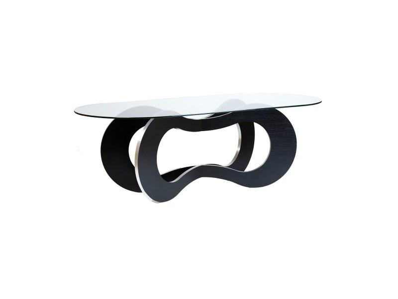 Table de repas en bois noir spirale
