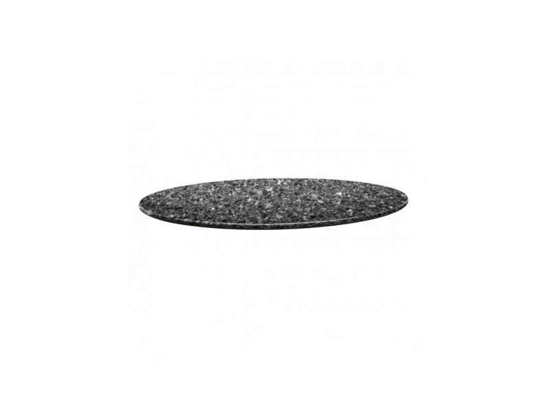 Plateau de table rond granite noir 70 cm - topalit - granite