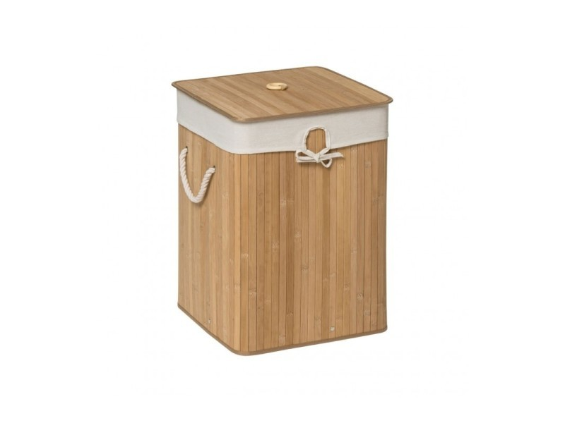 Panier à linge carré en bambou et intérieur amovible en coton - Vente de  Panier à linge et corbeille - Conforama d713dc54857