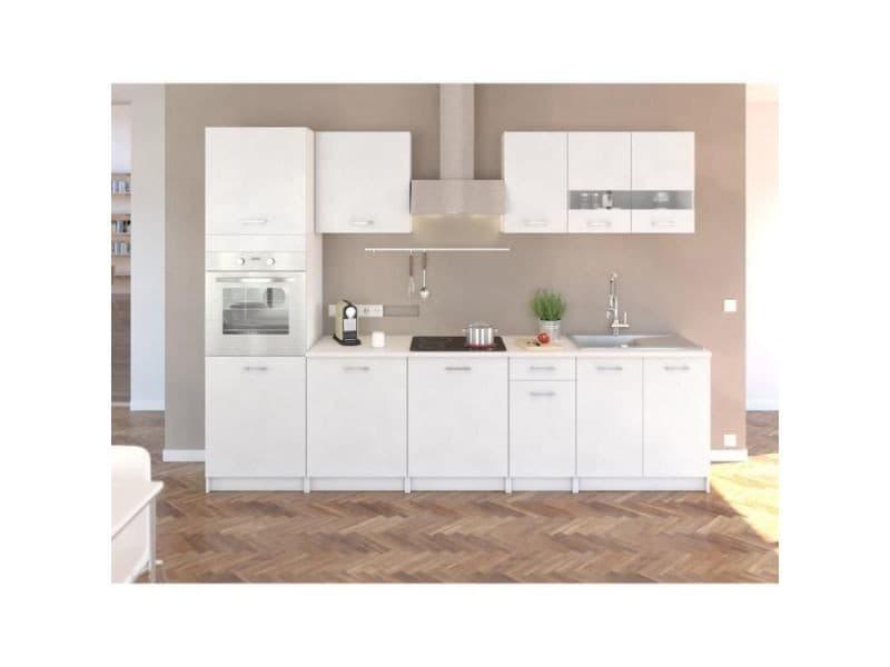 Extra cuisine complete l 300 cm avec colonne - blanc mat 202Z30036