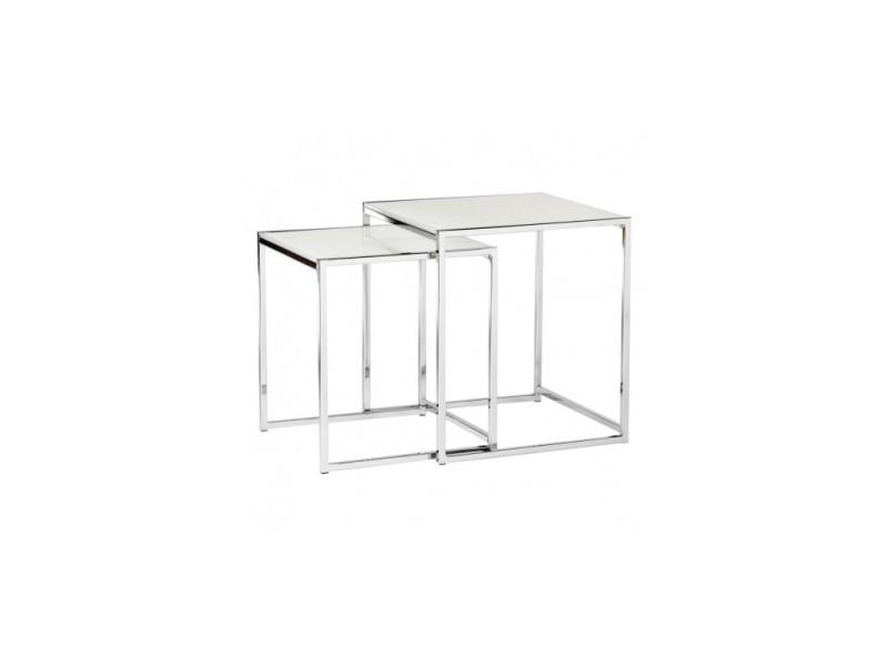 Set de 2 tables d'appoints verre et chrome pop