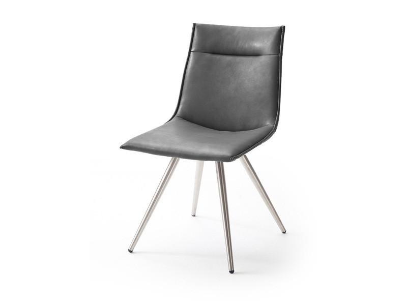 Chaise avec coutures en pu brillant satiné gris avec pieds ronds en acier brossé -pegane-