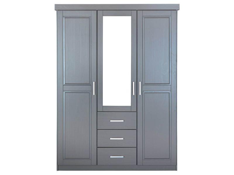 Stradi - armoire 3 portes 3 tiroirs grise avec miroir