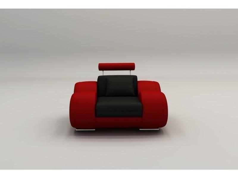 Fauteuil cuir relax design noir et rouge oslo