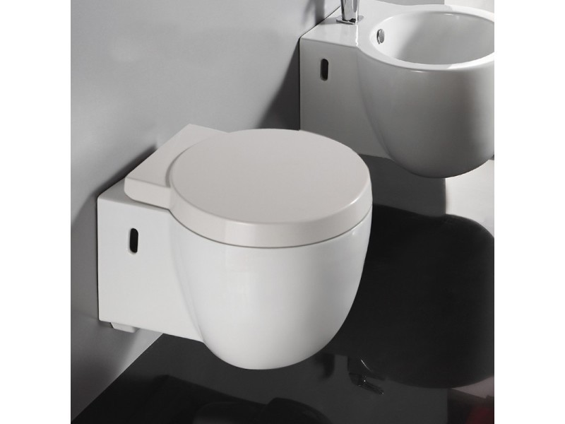 wc suspendu compact avec abattant c ramique blanc 50x40 cm charm vente de rue du bain. Black Bedroom Furniture Sets. Home Design Ideas
