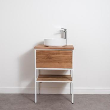Meuble salle de bain factory en teck et m tal blanc 60 cm - Meuble vasque salle de bain conforama ...