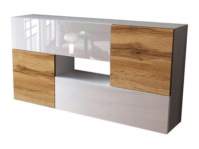 Ensemble de 4 meubles suspendus blanc/blanc/ chêne wotan
