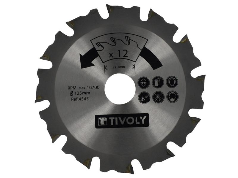 Lame de scie à bois ø125mm tivoly 12 dents alesage ø22,22mm acier carbure spécial meuleuse pour tout type de bois