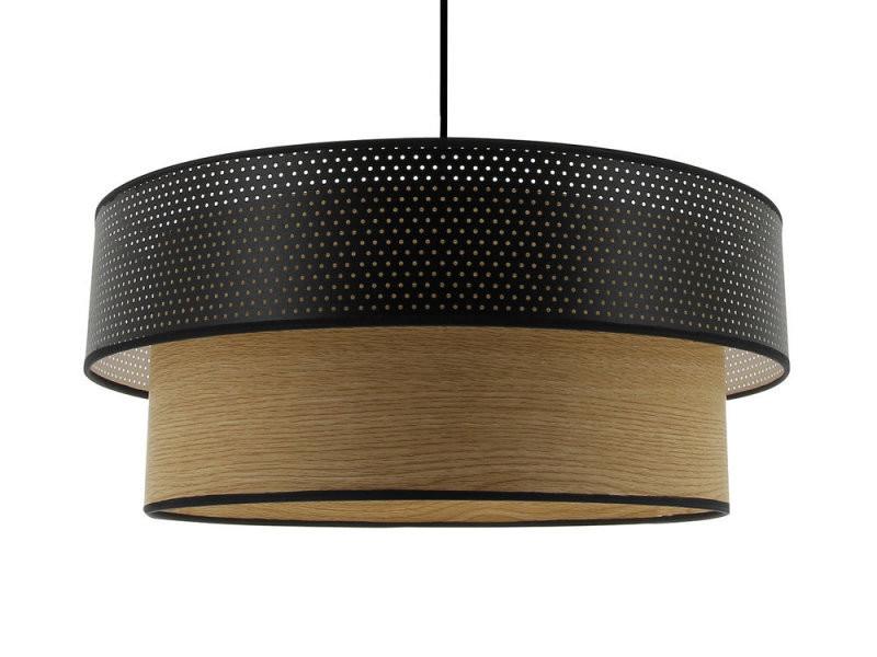 suspension double cylindre bicolore aspect bois marron et. Black Bedroom Furniture Sets. Home Design Ideas