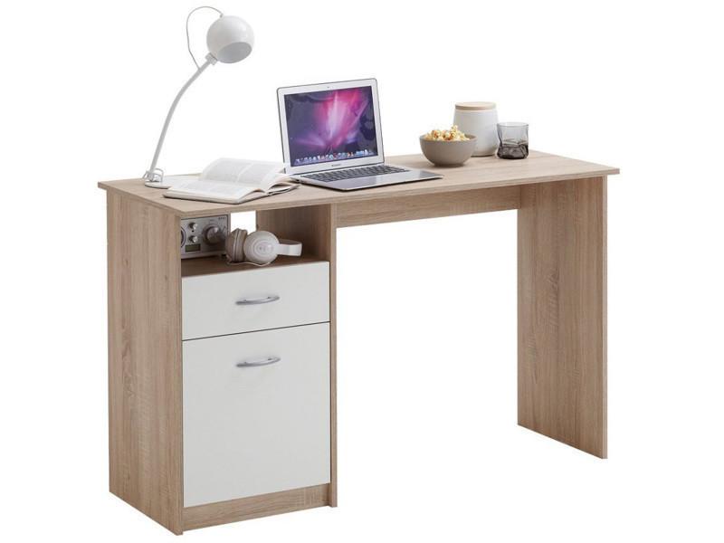 Bureau en bois coloris chêne blanc avec tirois et porte dim