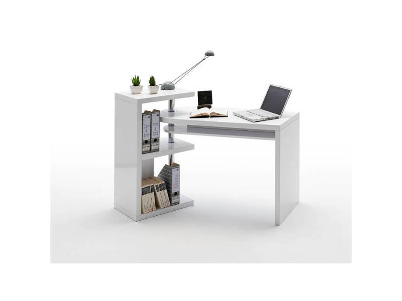 Bureau informatique design laqué blanc brillant parisse