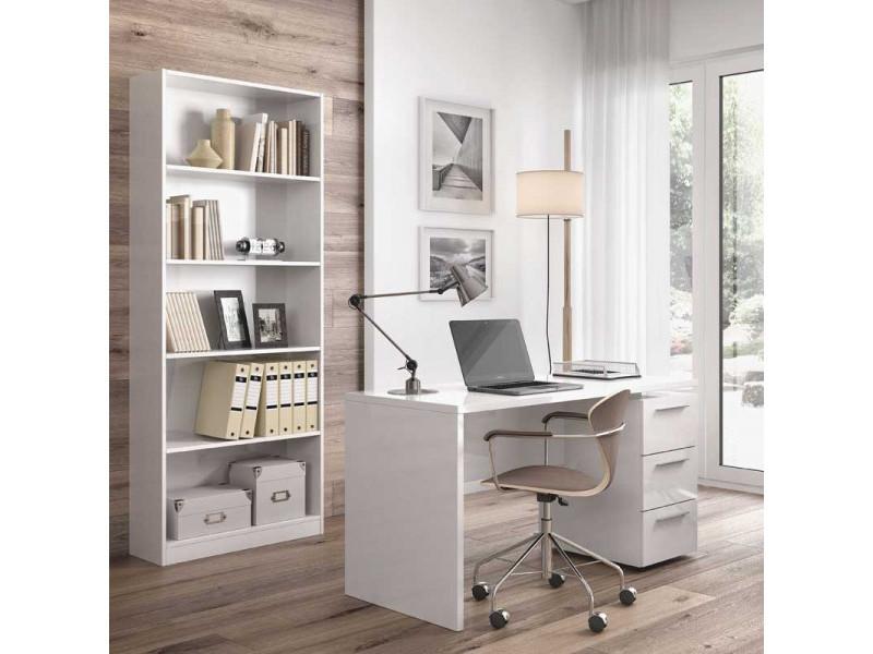 Bureau 3 tiroirs - blanc - lucy - l 138 x l 60 x h 74 cm