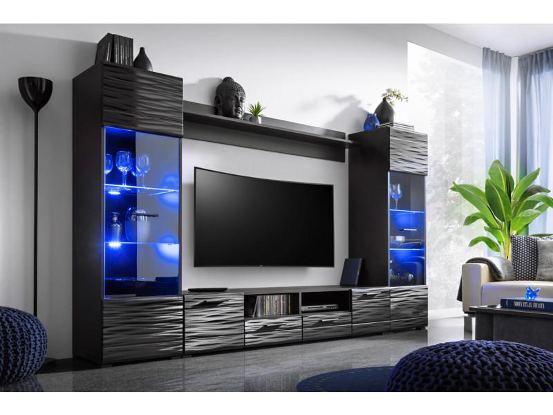 Meuble Salon Queen 260 Cm Noir Laqué Tv Effet 3d Avec Led Conforama