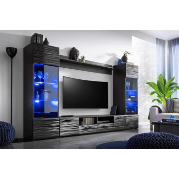Meuble Salon Queen 260 Cm Noir Laque Tv Effet 3d Avec Led Vente De Tendance Perso Conforama