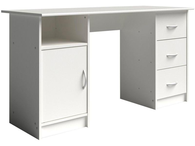 Table de bureau classique avec rangement coloris blanc chêne ...
